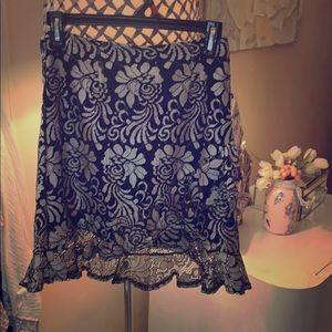 Black & White lined asymmetrical skirt